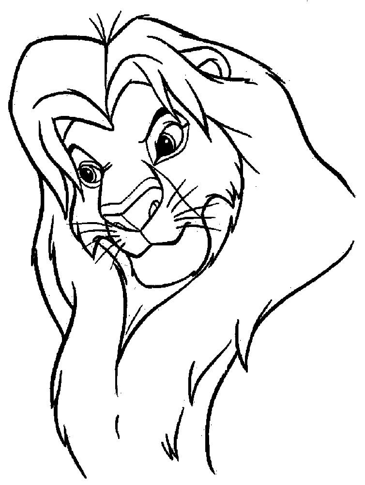 Раскраска взрослый лев Муфаса