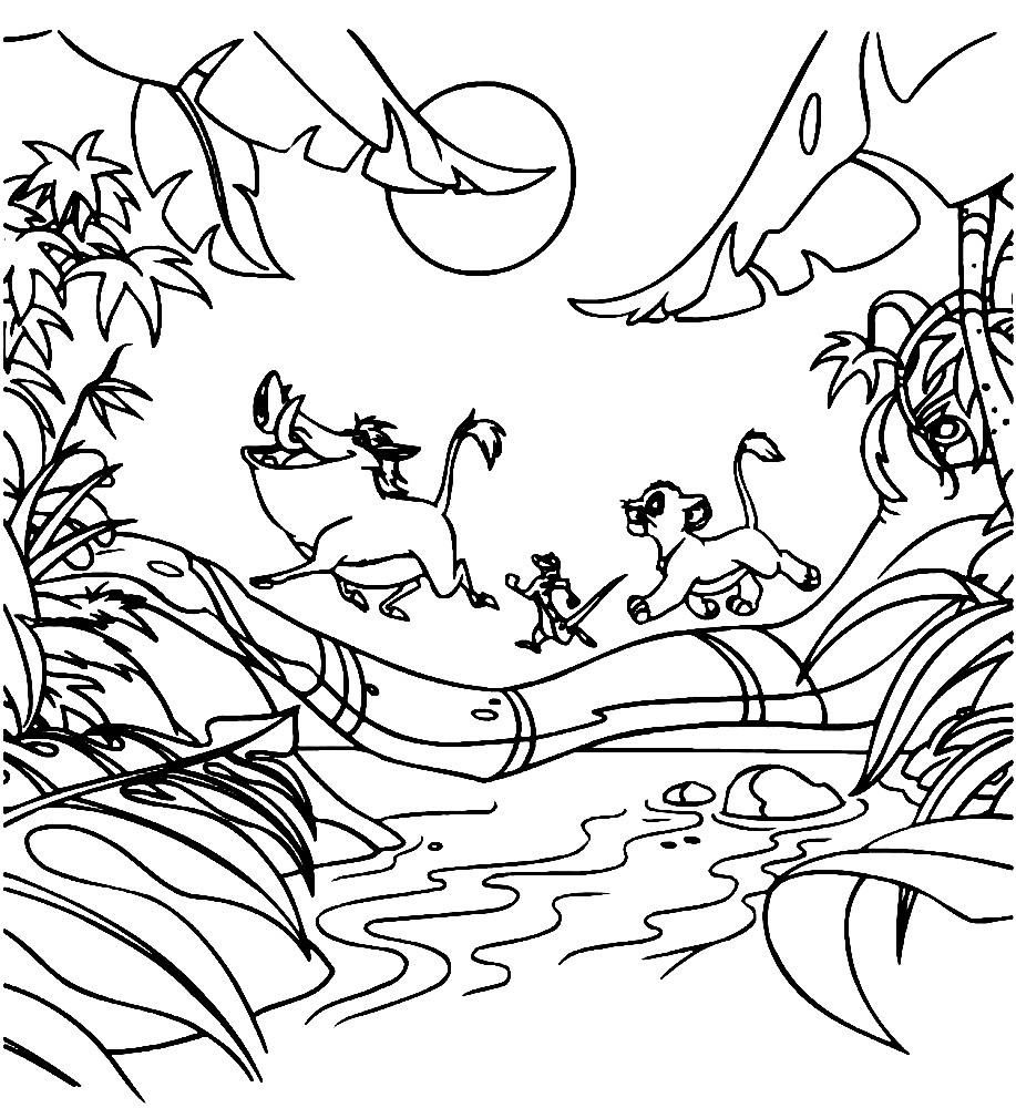 Раскраска Тимон, Пумба и Симба