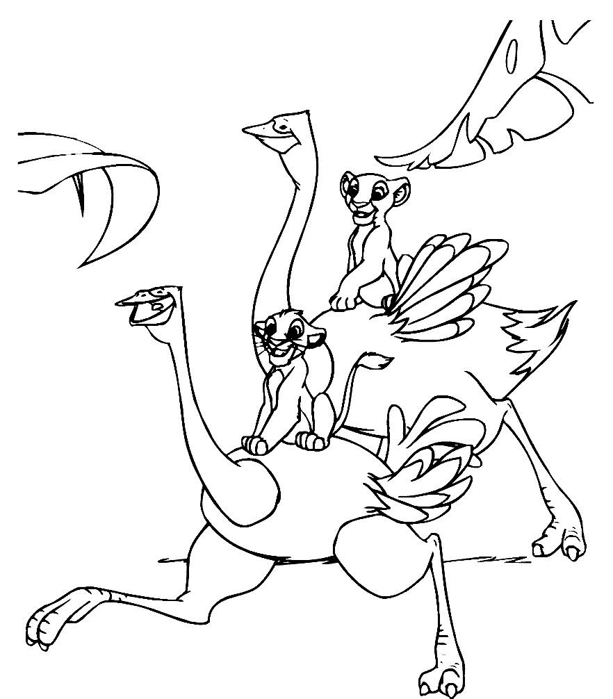 Раскраска львенок Симба