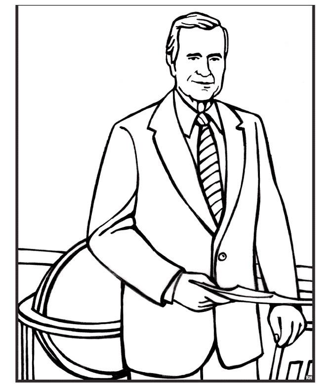 Раскраска Джордж Буш старший