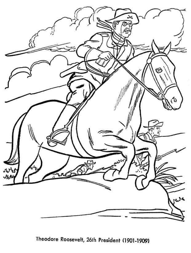 Раскраска Теодор Рузвельт