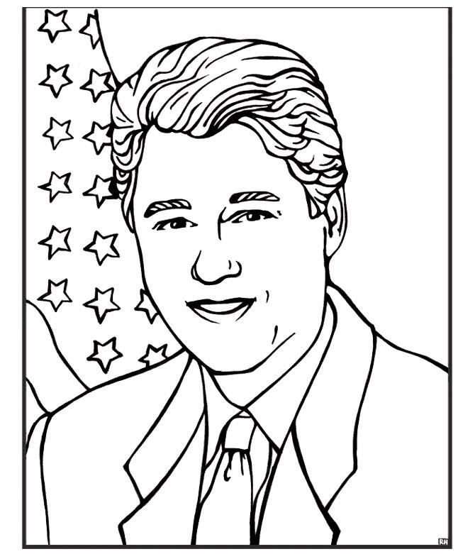 Раскраска Билл Клинтон