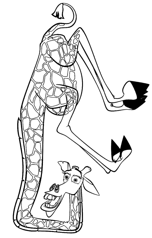 Раскраска веселый жираф