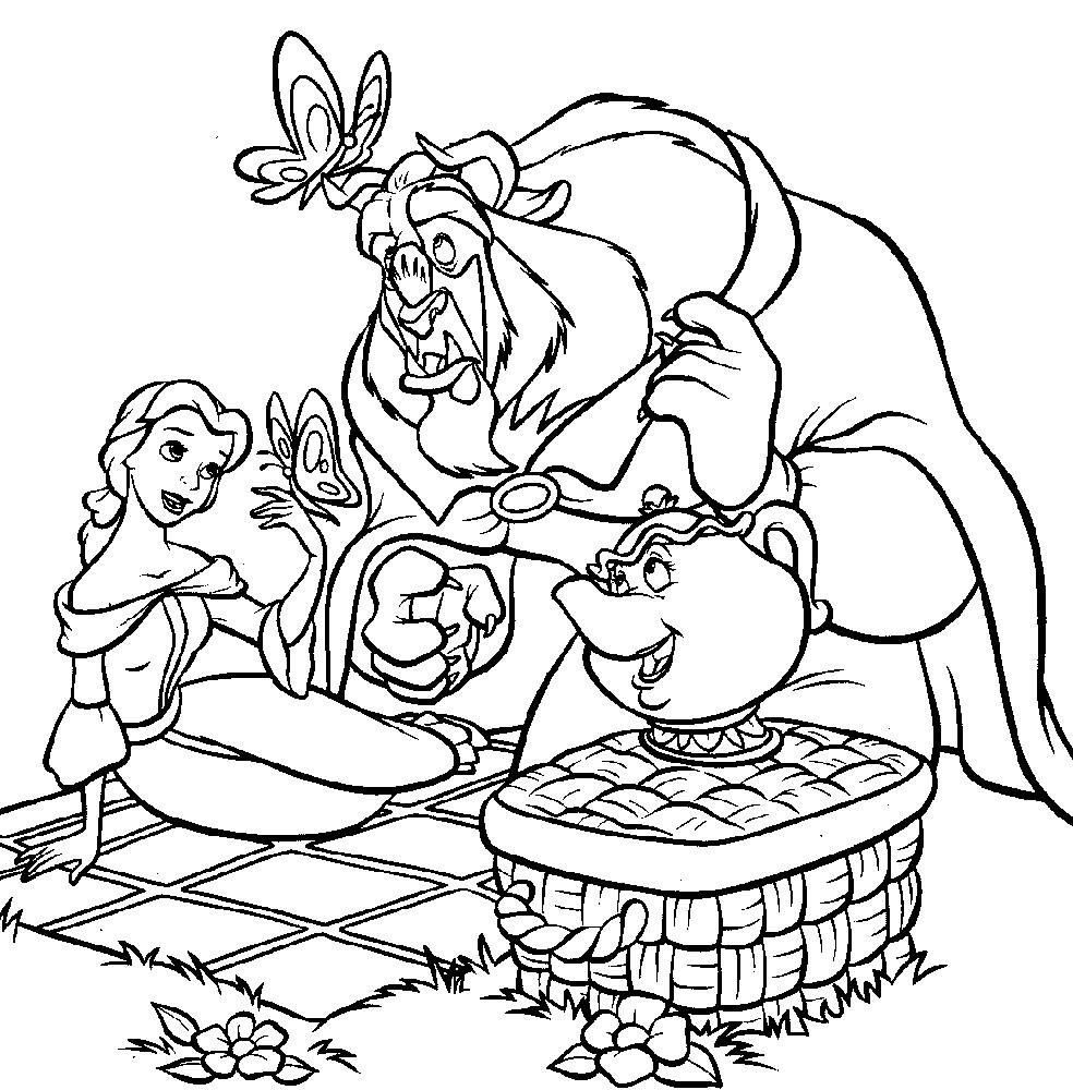 Раскраска чудовище и Белль на пикнике