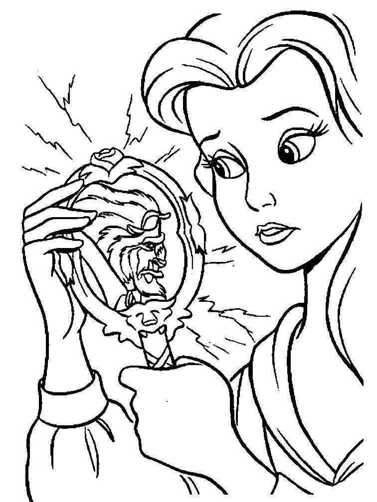Раскраска Белль и волшебное зеркало