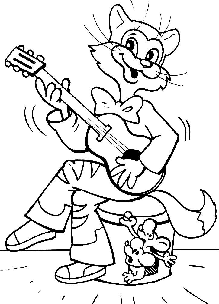 Раскраска кот Леопольд играет на гитаре