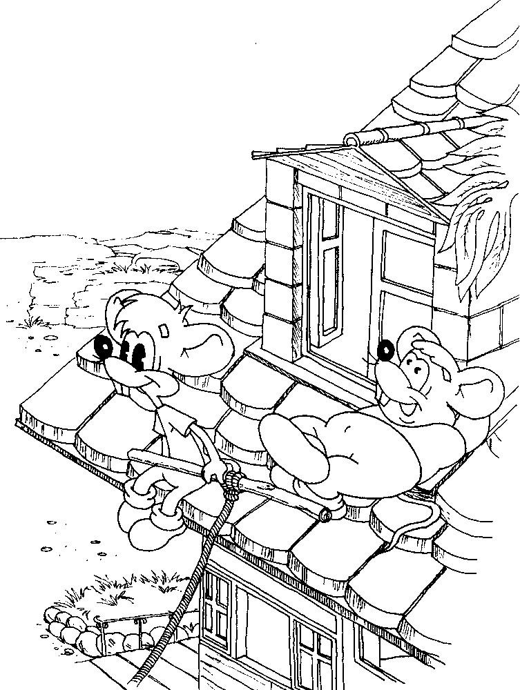 Раскраска мыши на крыше