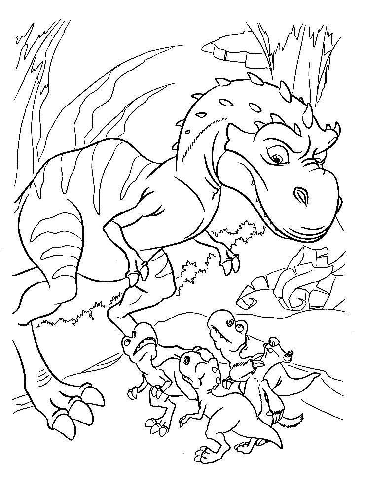Раскраска мама динозавриха