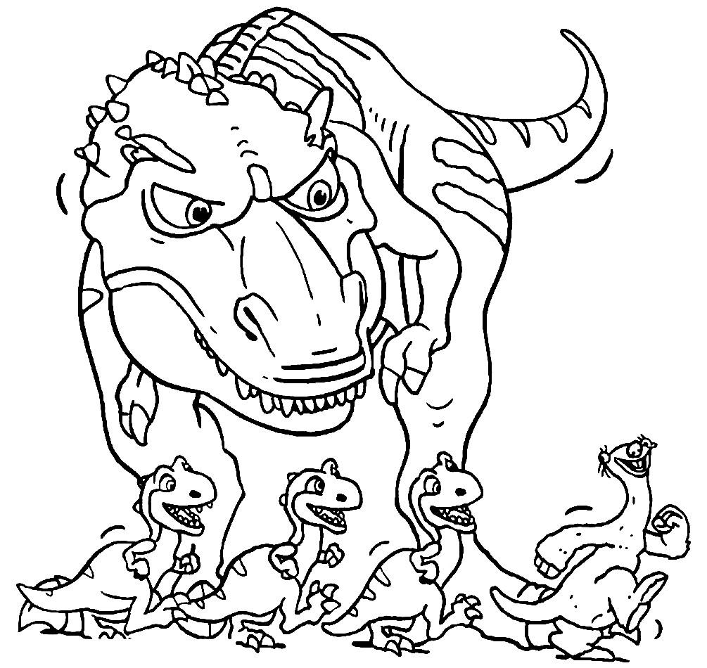 Раскраска динозавры и опоссум