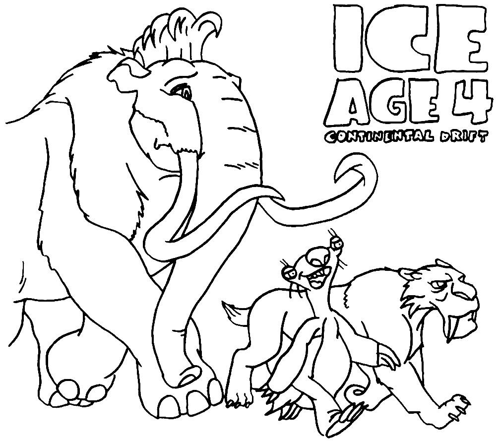 Раскраска звери из Ледникового периода