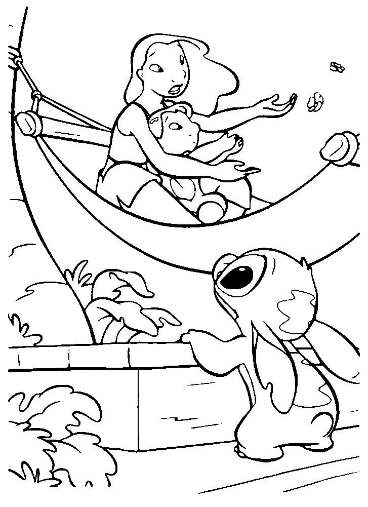 Раскраска Лило, ее сестра Нани и Стич