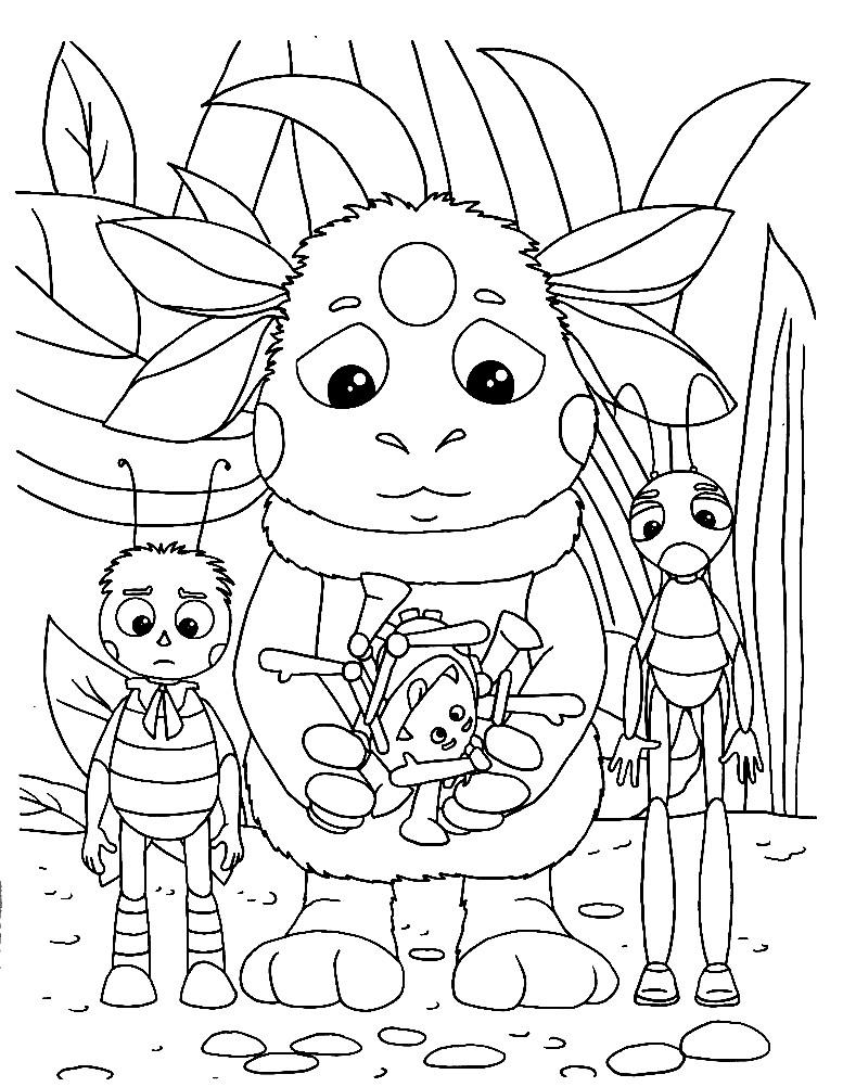 Раскраска портрет Лунтика и его друзей
