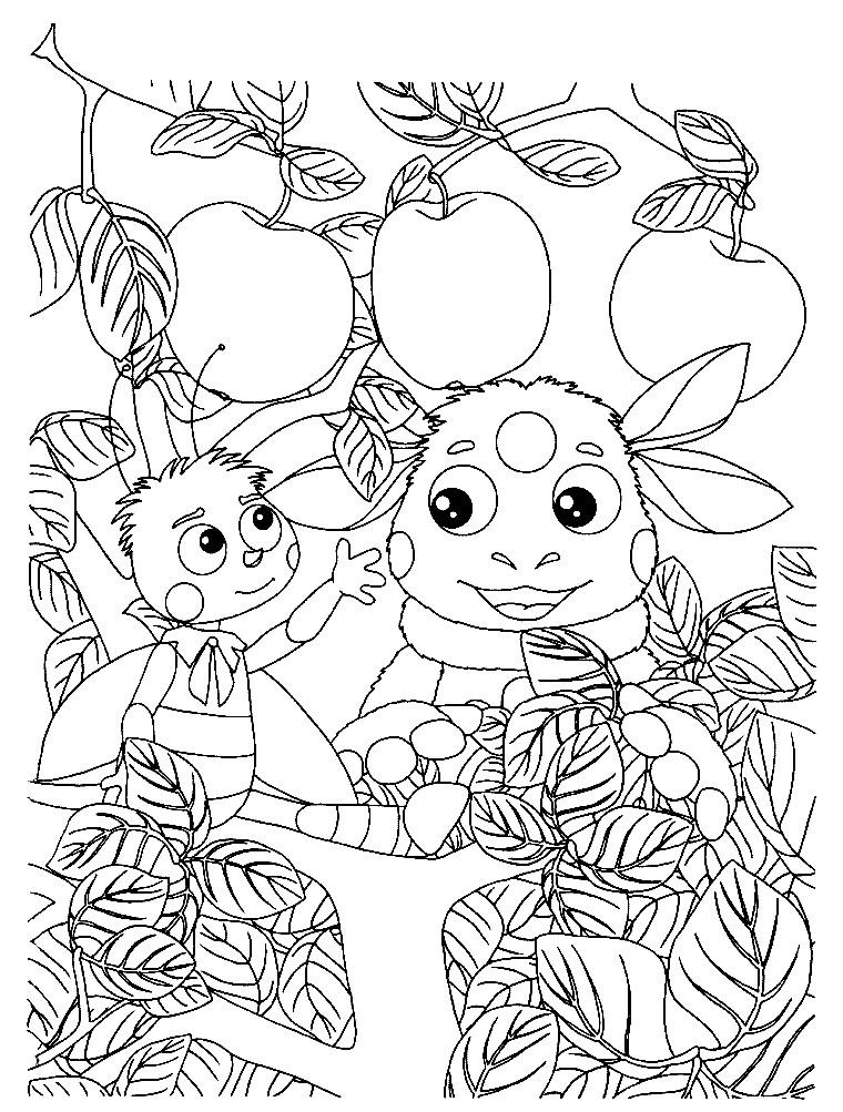 Раскраска Лунтик и Пчеленок