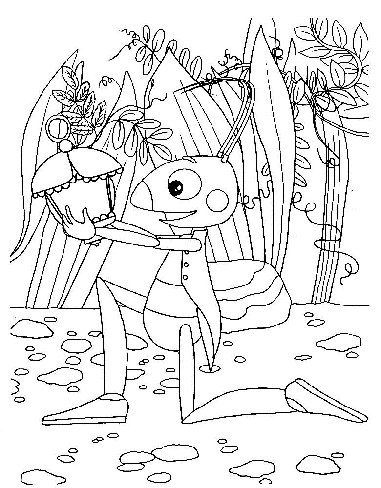 Раскраска Кузя с фонариком