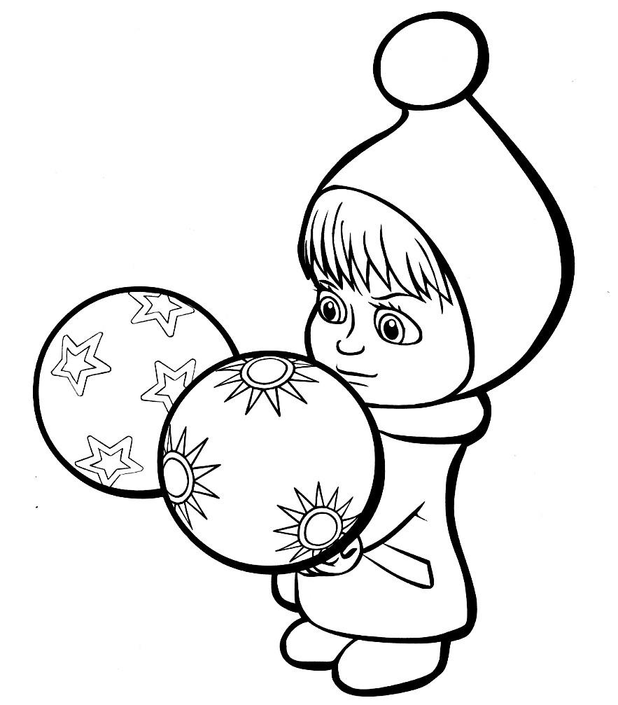 Раскраска Маша и елочные шары
