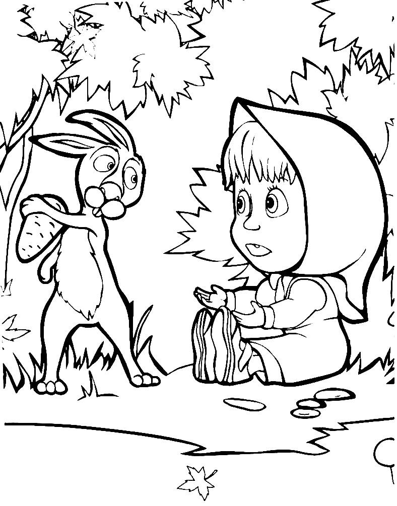 Раскраска Маша и зайчик