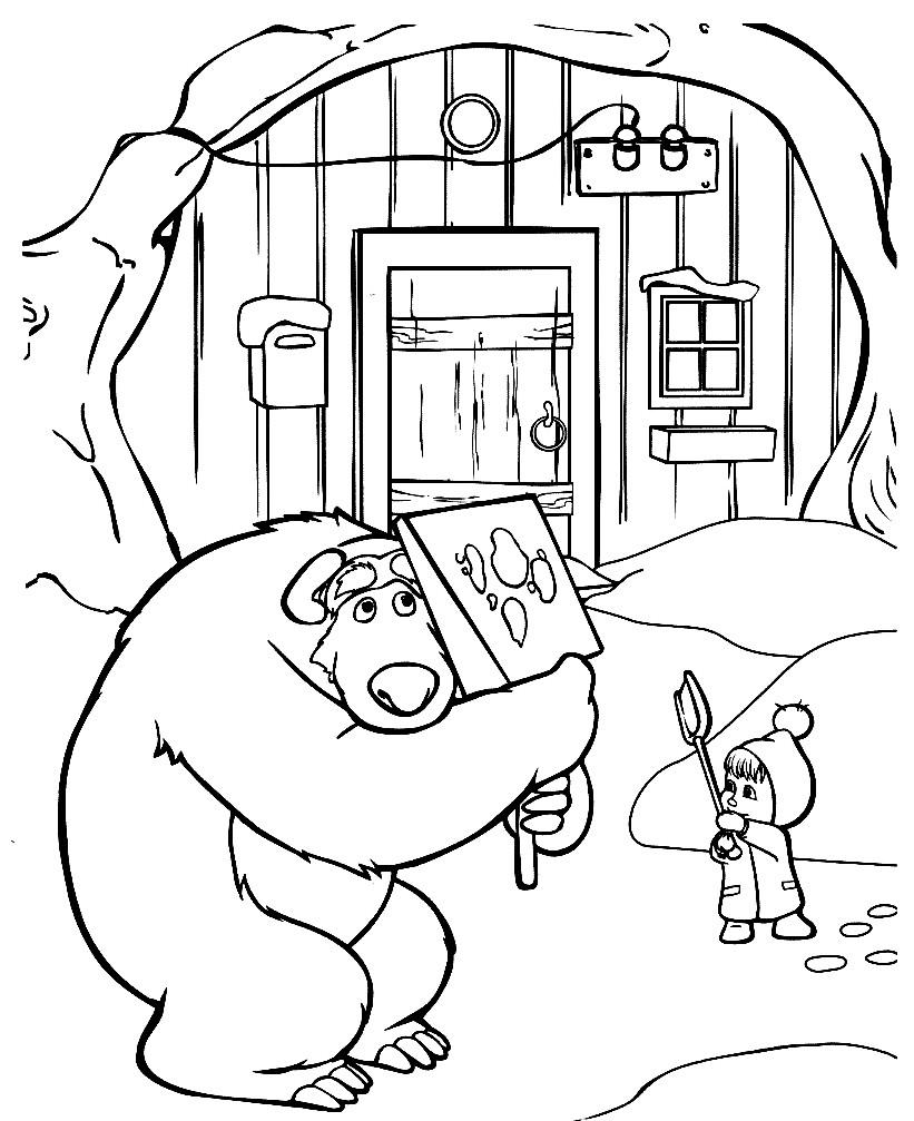 Раскраска Маша играет с Мишкой в снежки