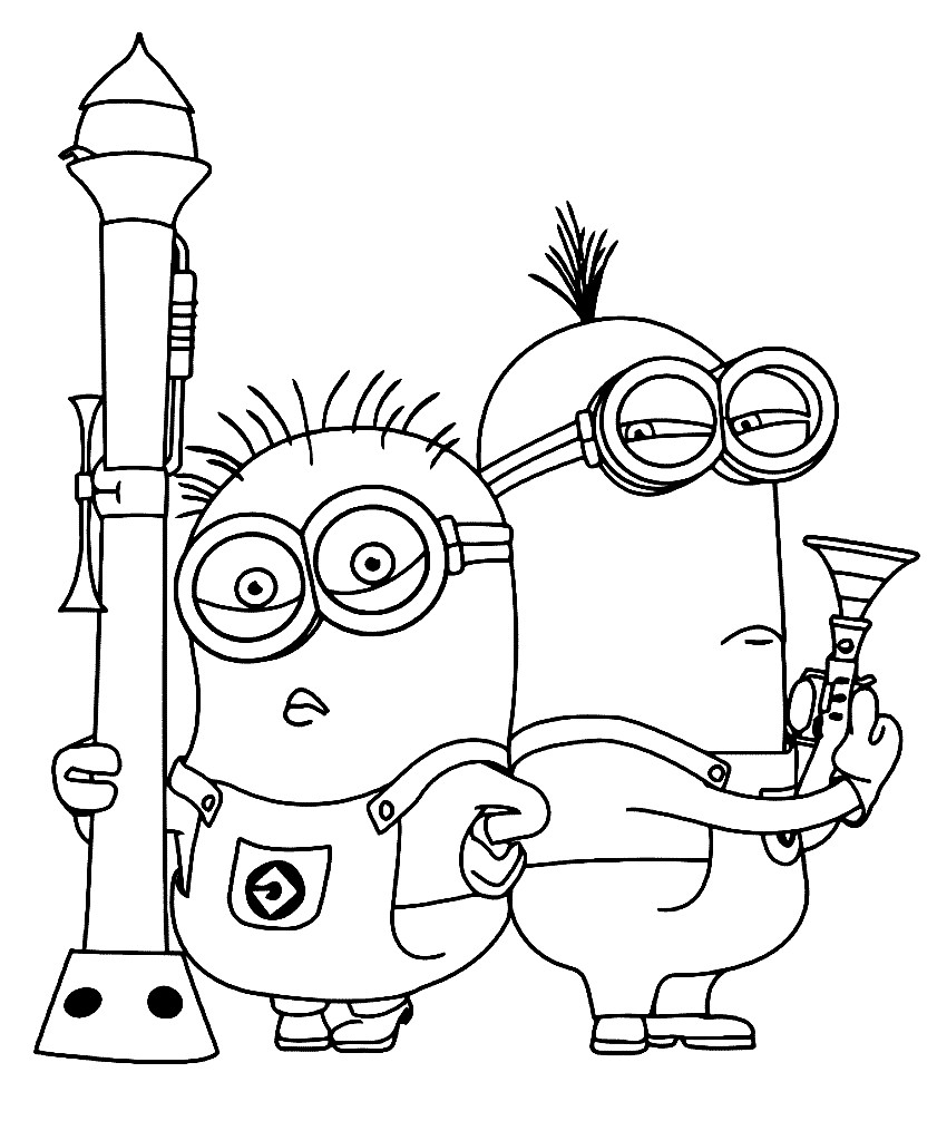 Раскраска Миньоны с оружием
