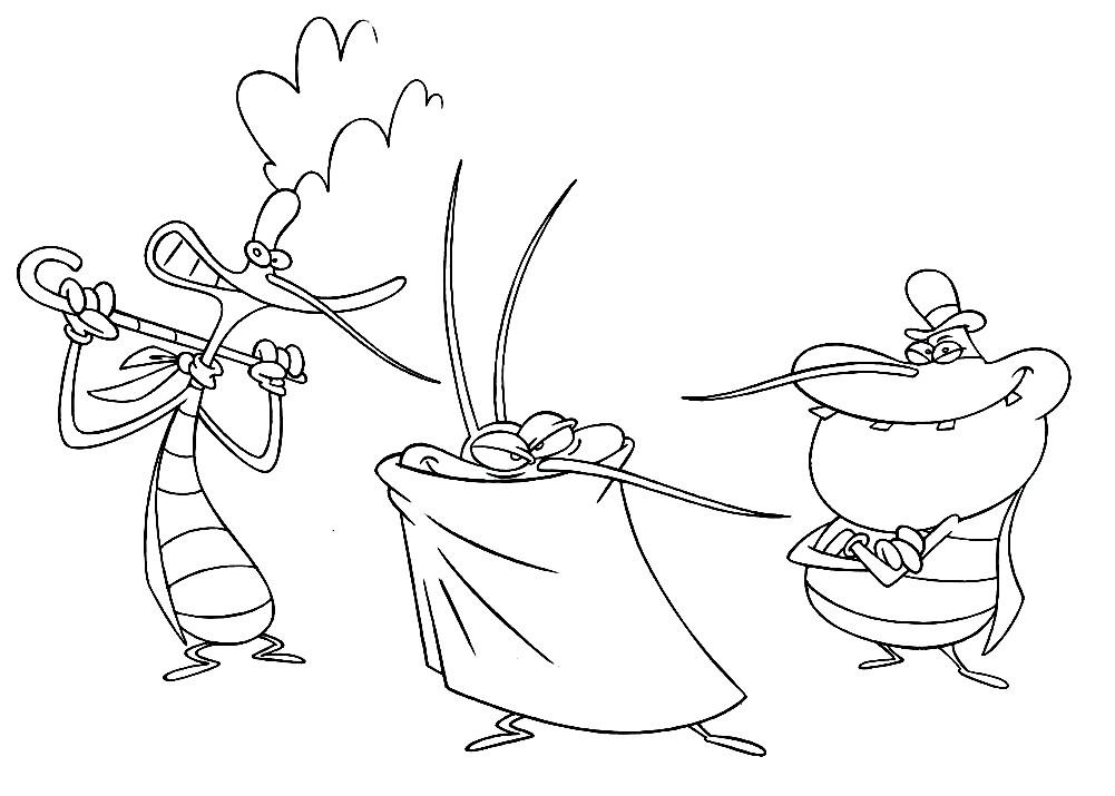 Раскраска тараканы Марки, Диди и Джоуи