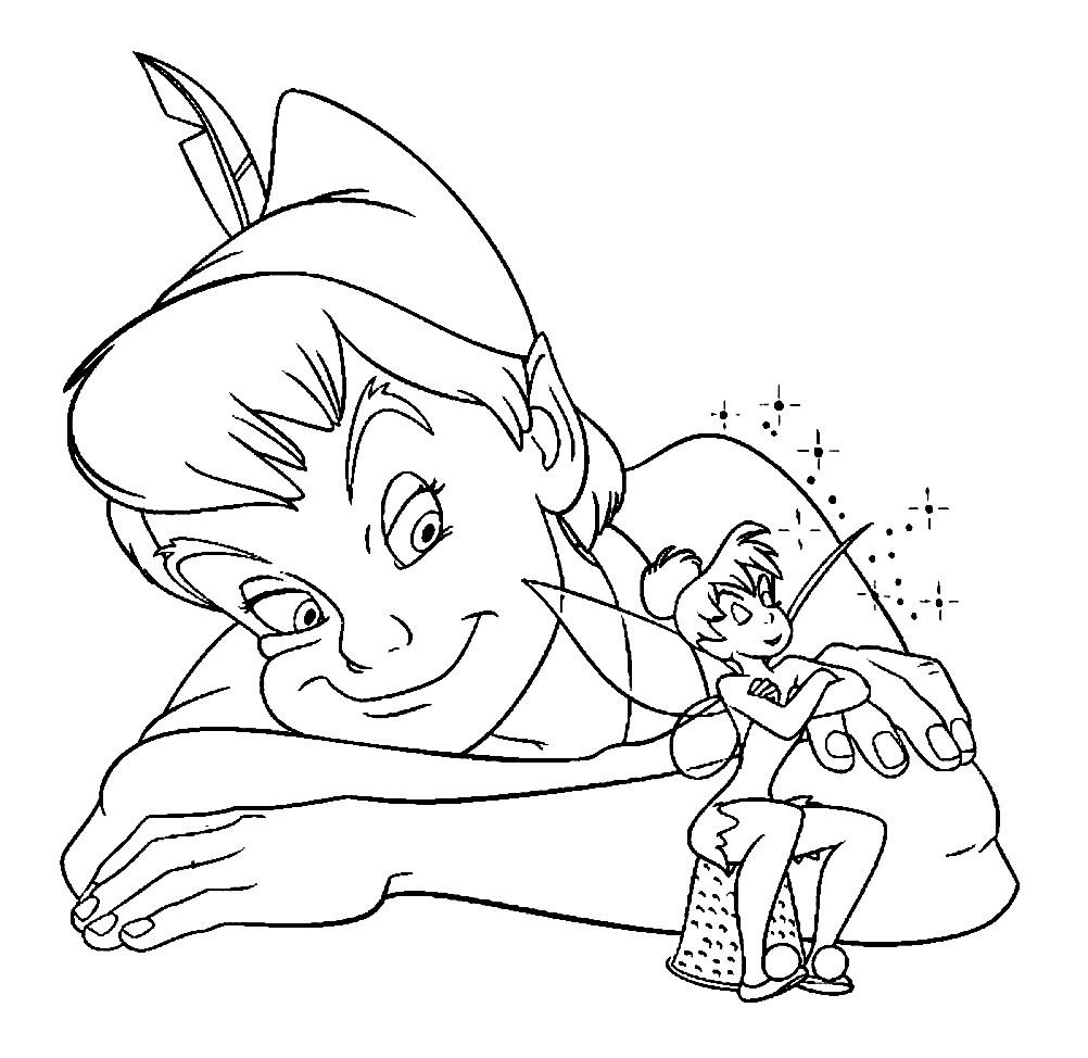 Раскраска Питер Пэн и фея Динь-Динь