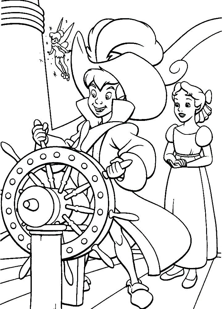Раскраска Питер Пэн капитан корабля