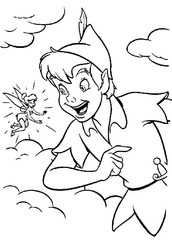 Раскраска Питер Пэн с Динь-Динь