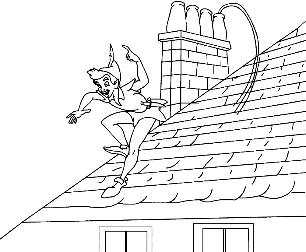 Раскраска Питер Пэн на крыше