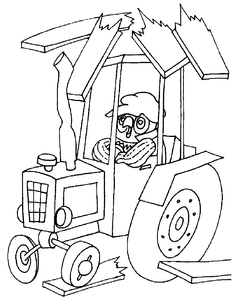 Раскраска попугай Кеша на тракторе