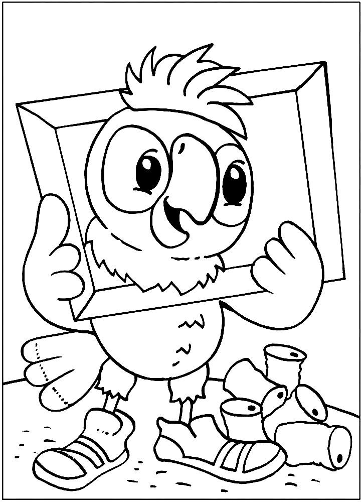 Раскраска эксентричный попугай Кеша