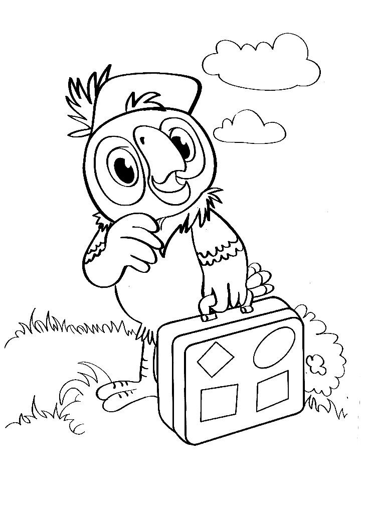 Раскраска новые приключения попугая Кешы