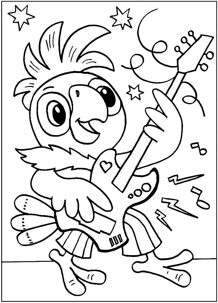 Раскраска попугай Кеша рок музыкант