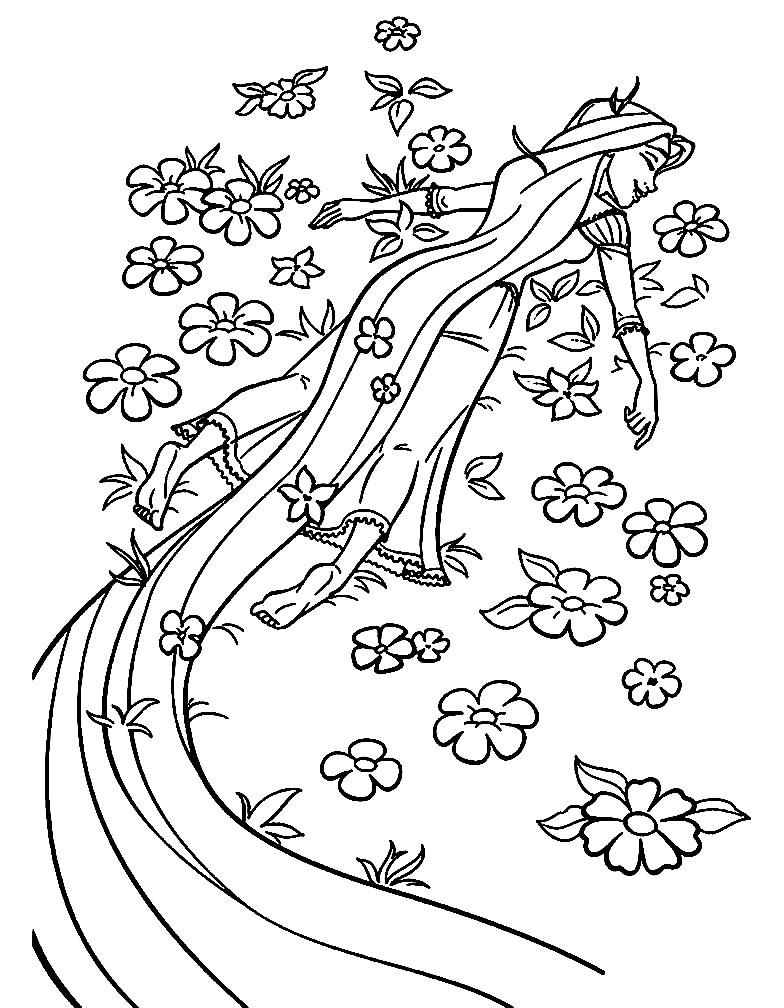 Раскраска Рапунцель летает во сне