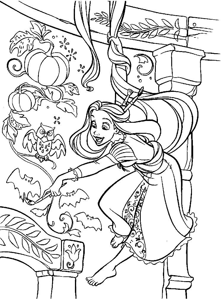 Раскраска художница Рапунцель