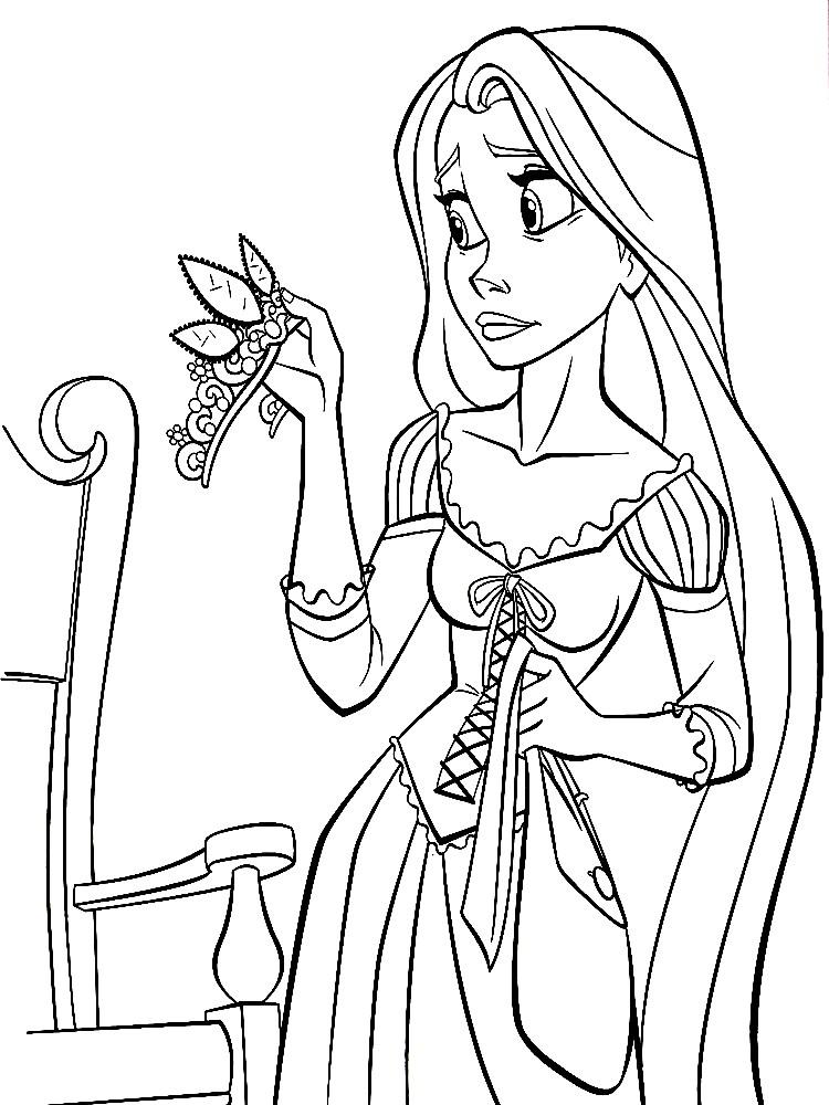 Раскраска Рапунцель и корона | Раскраски для детей ...