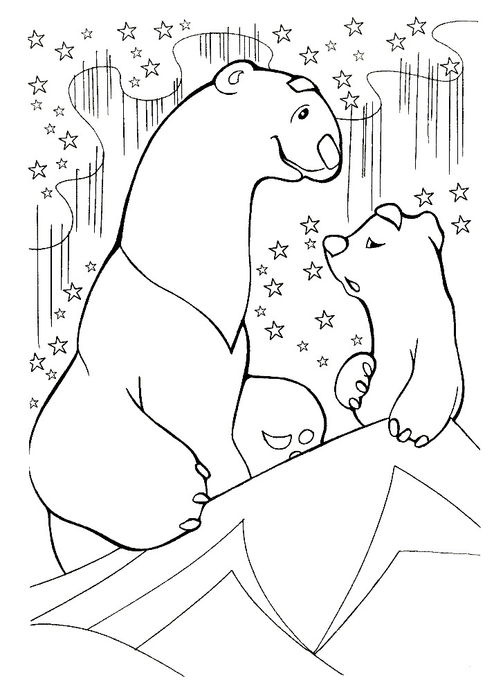 Раскраска медвежонок Умка с мамой