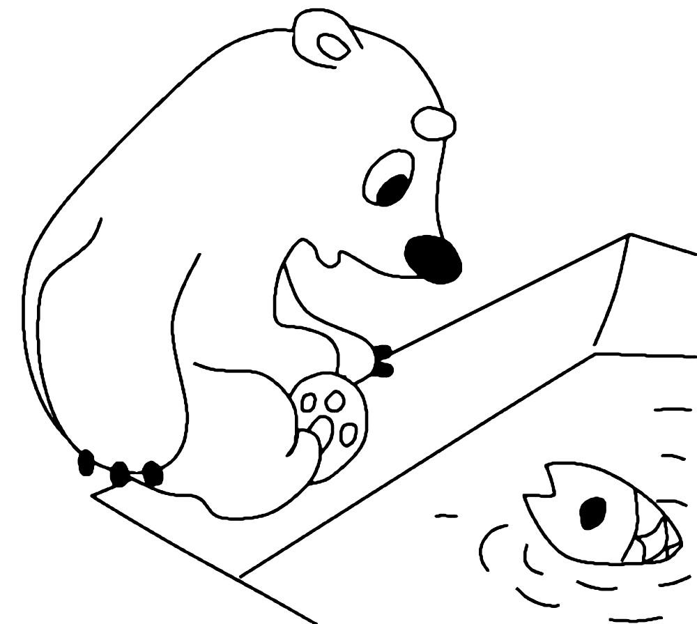 Раскраска медвежонок Умка на полярной станции