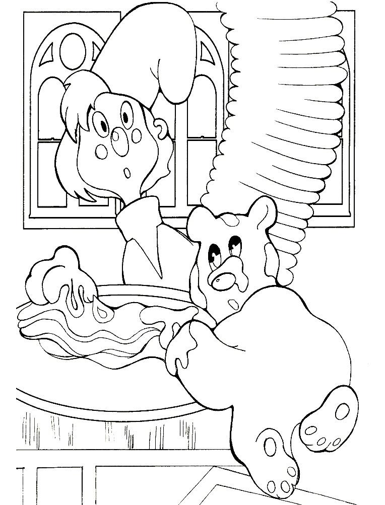 Раскраска медвежонок Умка ест мед