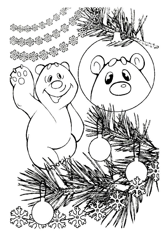 Раскраска мишка Умка поздравляет С Новым годом!