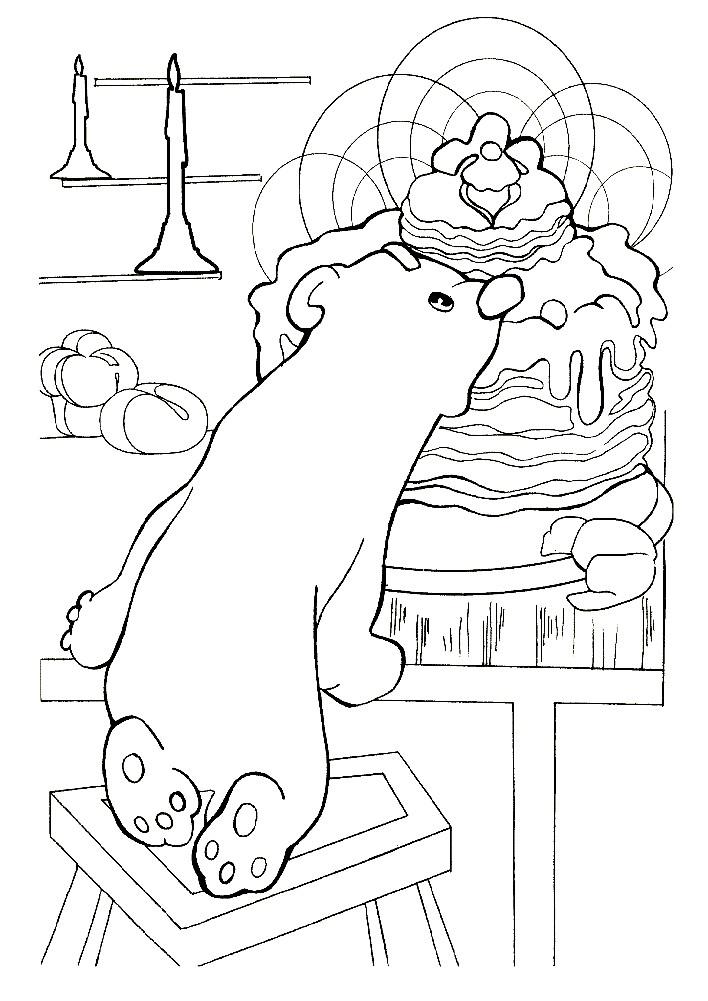 Раскраска мишка Умка залез в дом
