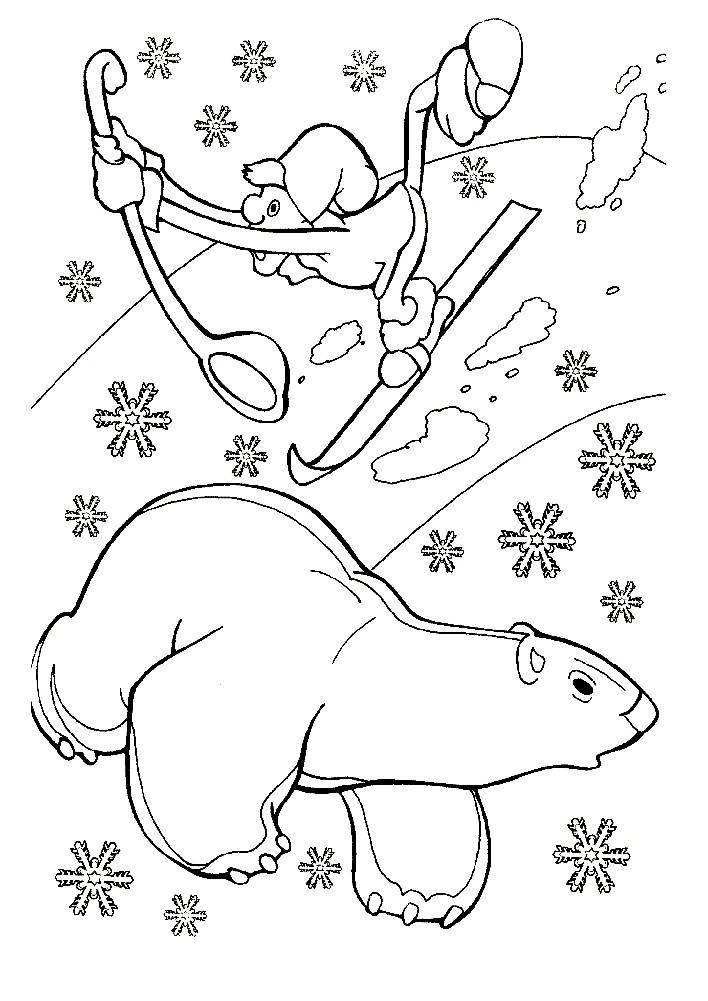 Раскраска мультфильм Медвежонок Умка