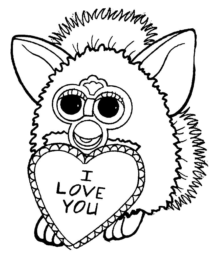 Раскраска Ферби Бум с сердечком
