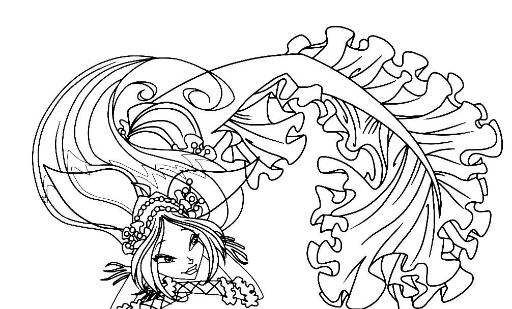 Раскраска Флора русалка