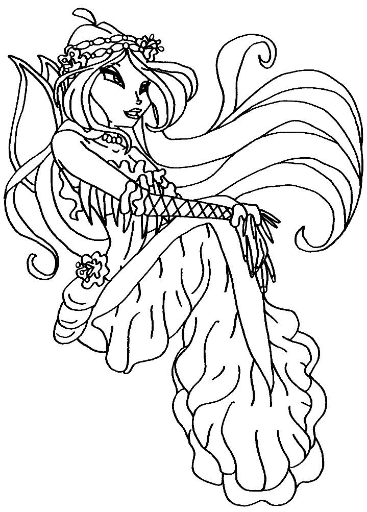 Раскраска русалка Флора