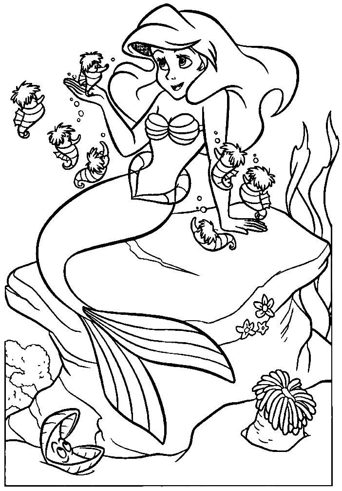 Раскраска Ариэль с морскими коньками