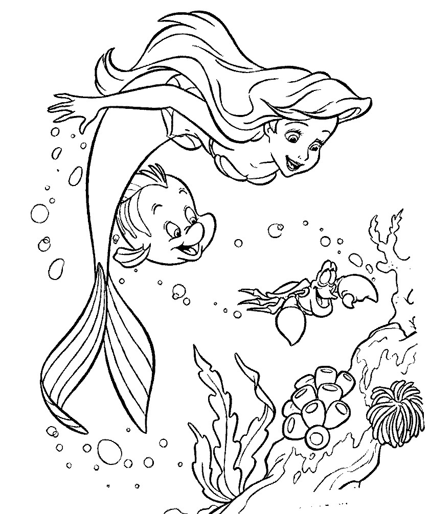 Раскраска русалочка Ариэль и ее друзья | Раскраски для ...
