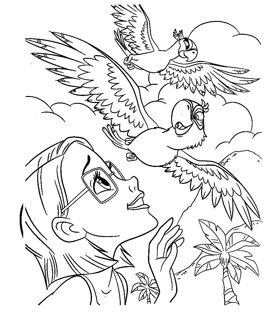 Раскраска Линда знакомит попугаев