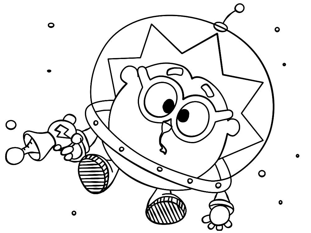 Раскраска Ежик в космосе