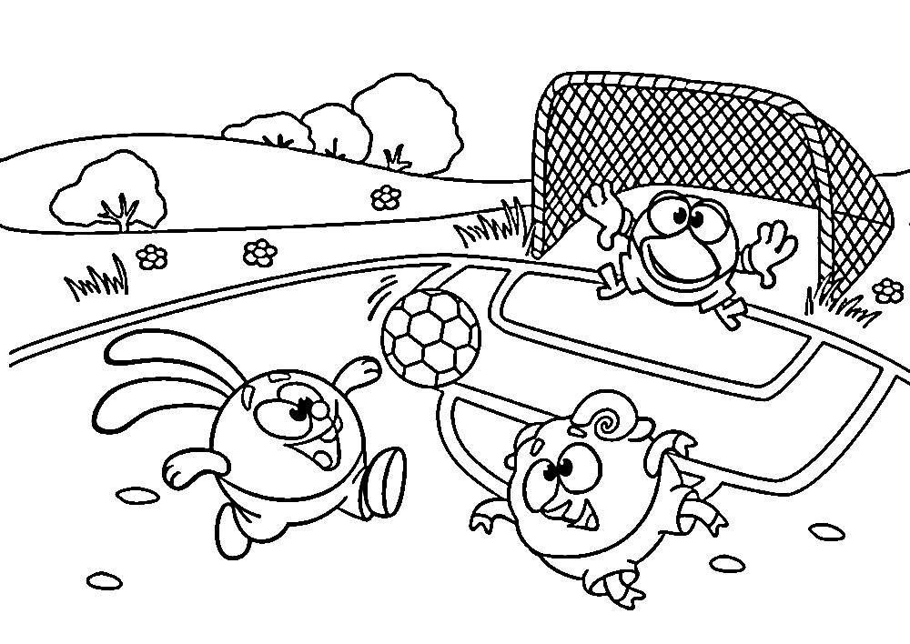 Раскраска смешарики играют в футбол