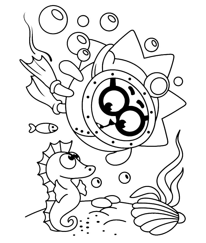 Раскраска Ежик исследует морское дно