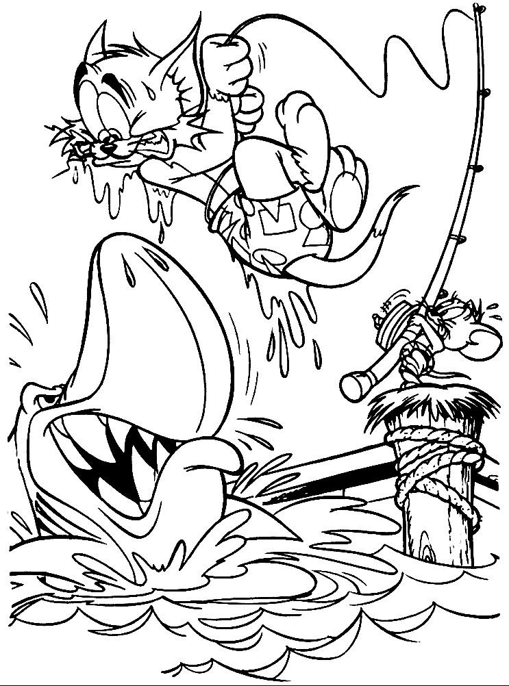 Раскраска Том и Джерри на рыбалке